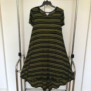LuLaRoe Black & Yellow Striped Carly Dress